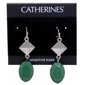 3/$20 Catherines silver and green dangle earrings